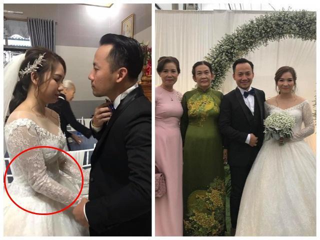 Mặc váy cưới xinh đẹp nhưng vợ của Tiến Đạt lộ bụng to lùm lùm, vướng nghi vấn mang bầu