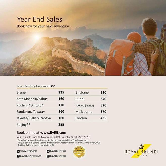 Khuyến mãi siêu hấp dẫn từ Royal Brunei Airlines dịp cuối năm
