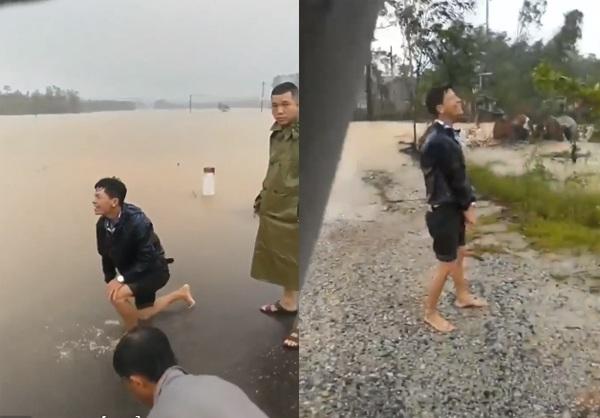 Vợ đi đẻ bị nước lũ cuối trôi ở Huế, chồng gào khóc trong tuyệt vọng