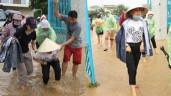 Ăn mặc giản dị đi từ thiện, Mỹ Tâm mang dép bệt vẫn trượt ngã dưới nước