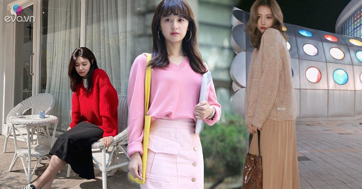 Áo len trơn màu dù đơn giản đến mấy, qua tay các mỹ nhân Hàn là hóa sành điệu