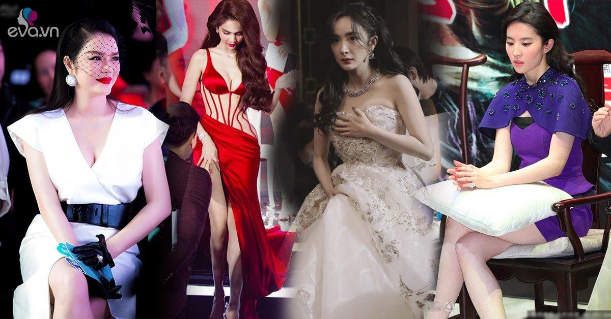 Đánh đổi phút giây tỏa sáng, loạt sao nữ từ Trung sang Việt toát mồ hôi hột giữ váy áo