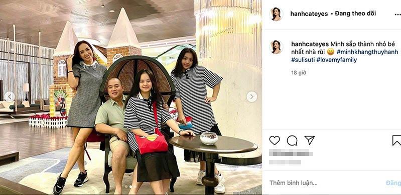 Khoe ảnh gia đình, Thuý Hạnh tự nhận nhỏ nhất nhà: hai con lớn phổng phao xinh như hoa hậu - 1