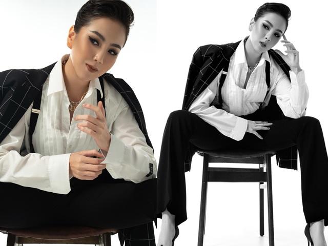 Lạ lẫm ngắm Mai Ngọc hóa cô nàng đẹp trai tuổi 30, siêu ngầu với vest nam lịch lãm